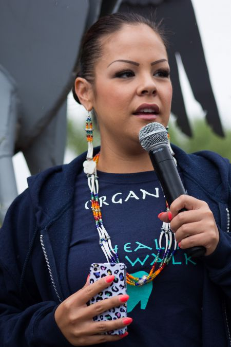 Crystal Lameman speaks at the Healing Walk in July 2013. Photo by Ben Powless