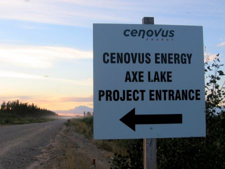 A sign for Cenovus' Axe Lake project. PHOTO: Sandra Cuffe
