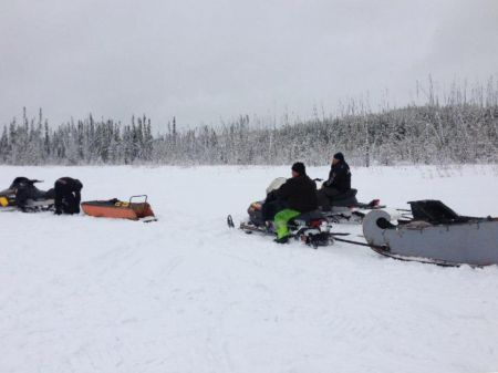 In April 2013, a group of Buffalo River Dene Nation members traveled into the Cold Lake Air Weapons Range, hauling materials to build cabins. Photo credit: BRDN—Keepers of the Land