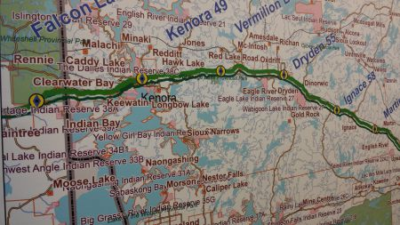Maps at the open house only provided a rough outline of the pipeline's route past Shoal Lake. Photo by Crystal Greene