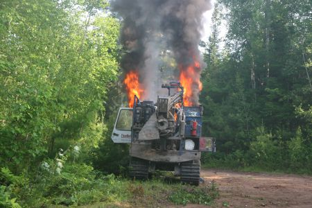 On June 25th, I was the first responder at this shot-hole driller fire. SWN estimates that the damages to equipment from this fire total $380,000 and the RCMP continue to treat the case as unsolved arson. Photo by Miles Howe