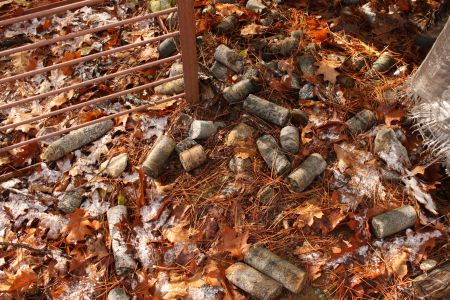 Waste cylinders of test rock lie scattered in an abandoned exploration camp beside Lake Kipawa. Photo by Claire Stewart-Kanigan