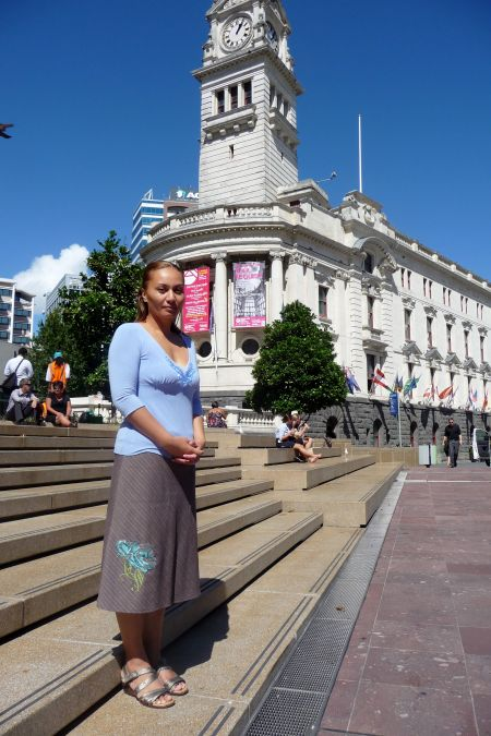 Marama Davidson in Aotea Square, Auckland. Photo by Jen Wilton