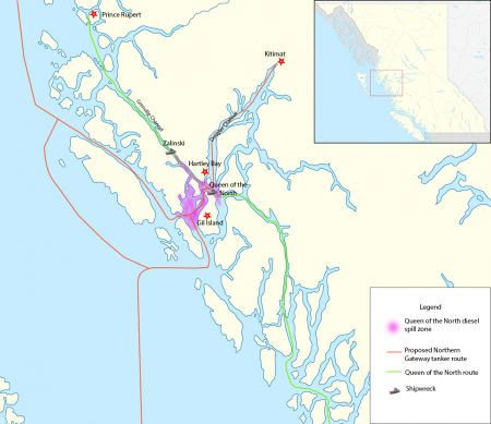 Map of routes of Queen of the North & proposed Northern Gateway. PHOTO: Erin Empey
