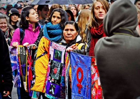 Thousands of people participated in Women's Memorial March actions across the country on February 14. Photo by dm gillis